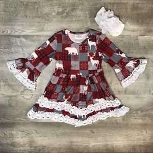 Plaid reindeer layered ruffle and lace dress